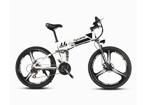 Cyrusher XF700 Mans Folding Electric Bike Mountain Full Suspension 250 Watt 36V 21 Speeds Ebike for Outdoor Recreation