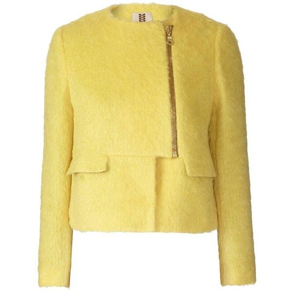 Yellow Winter Mohair Jacket ❤ liked on Polyvore featuring outerwear, jackets, zip jacket, long sleeve jacket, fitted jacket, zipper jacket and mohair jacket