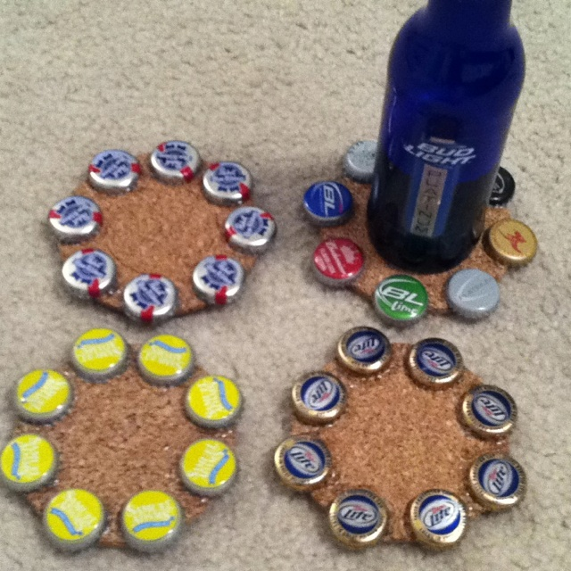 Beer bottle cap coasters diy with cork coasters and hot for Crafts to do with beer bottle caps