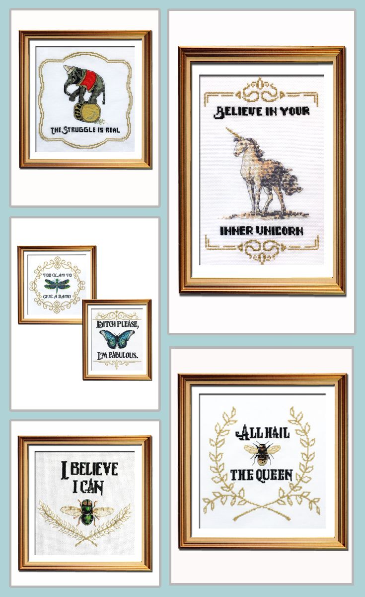Crazy about this funny cross stitch pattern collection!