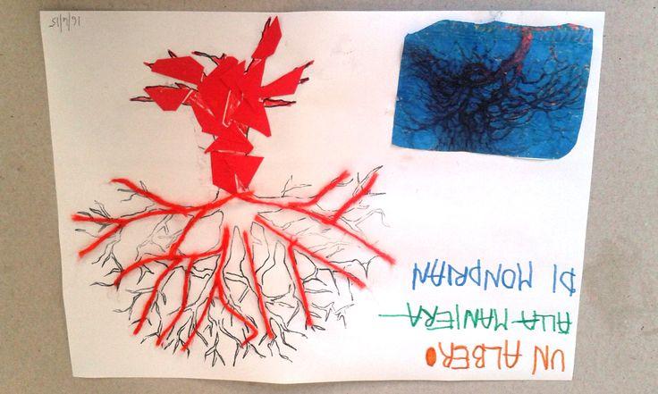 L'Albero di Mondrian, cartoncino e lana