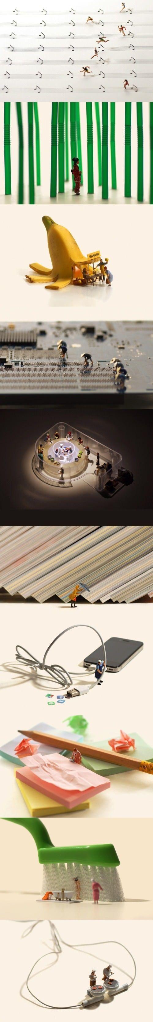 Diese Kunst ist winzig. Und ziemlich einfallsreich. Denn es nimmt alltägliche Objekte und macht sie zu alltäglichen Szenen, die aber nichts mit den Objekten (eigentlich) zu tun haben.