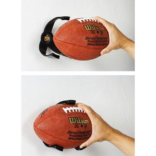 Wall-mount football holder, whether you want to display an autographed/memorabilia piece or just store your sports equipment in an easy spot. Also available for other types of balls. $8.99