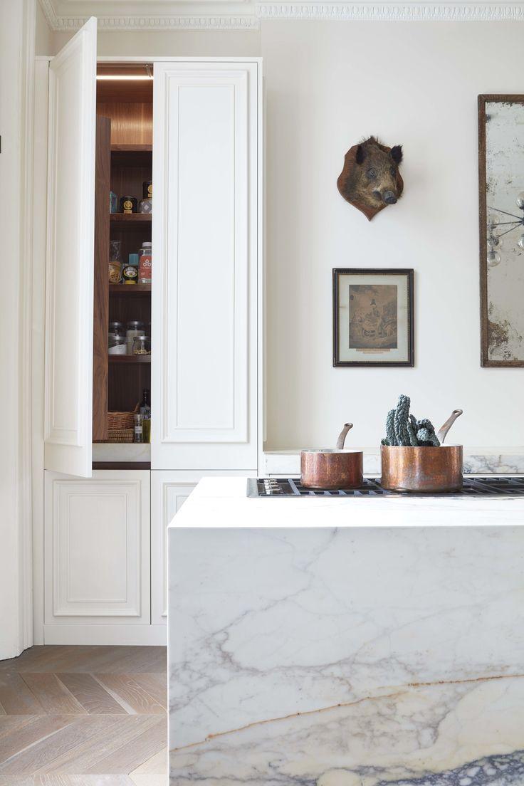 picturesque island kitchen modern. Paonazzo Marble, Chevron Parquet, Walnut Detailing, Panelled Kitchen, Minus The Boars Head Picturesque Island Kitchen Modern