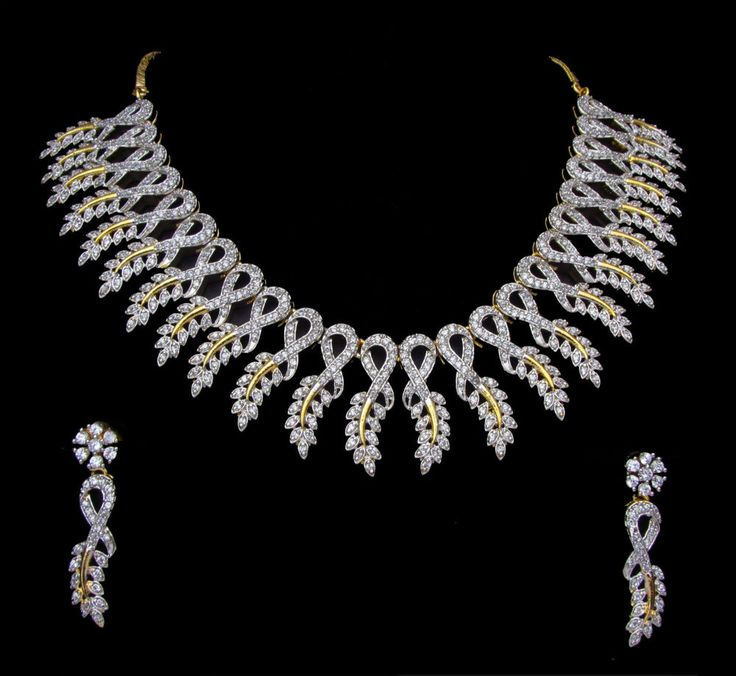 CZ AD Indian Necklace Gold & Silver Two Tone Bollywood Fanous Swam Jewelry 233