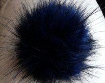 Size XL (dark blue - black tips) faux fur pom pom 6 inches/16 cm