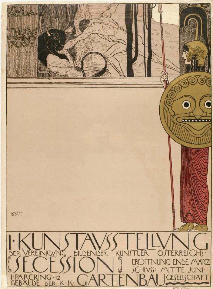 Poster by Gustav Klimt, 1 8 9 8, First Secession Exhibition (censored version), Vienna.