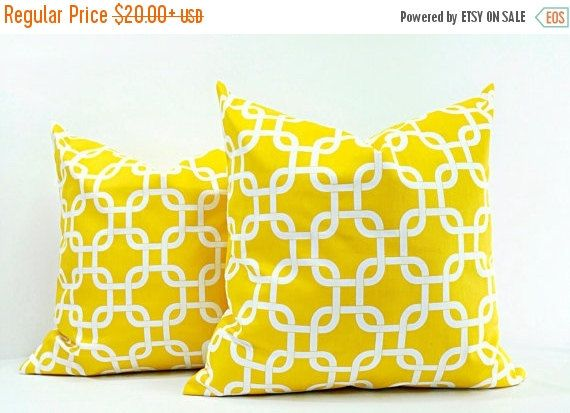 SALE PILLOW. Yellow Pillow cover. Set of 2 by TwistedBobbinDesigns