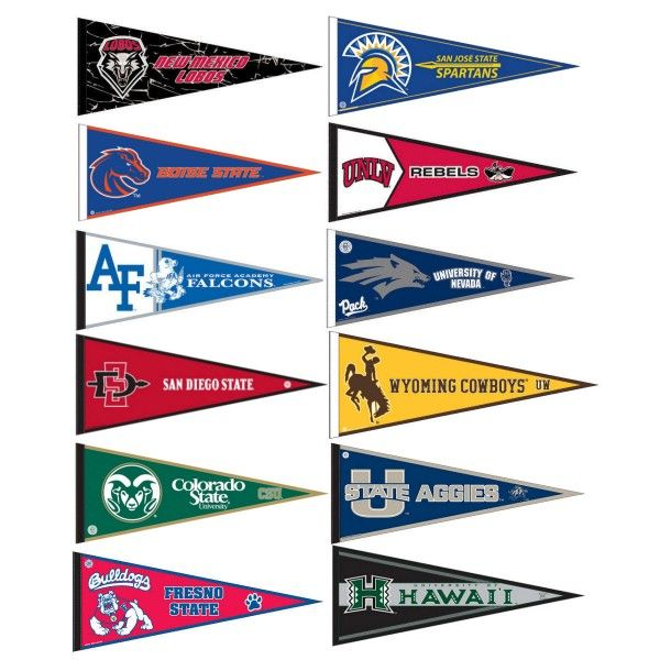 Mountain West Pennant Set includes all Mountain West Conference team pennants and measure 12x30 inches. All 12 Mountain West Conference teams are included and the...