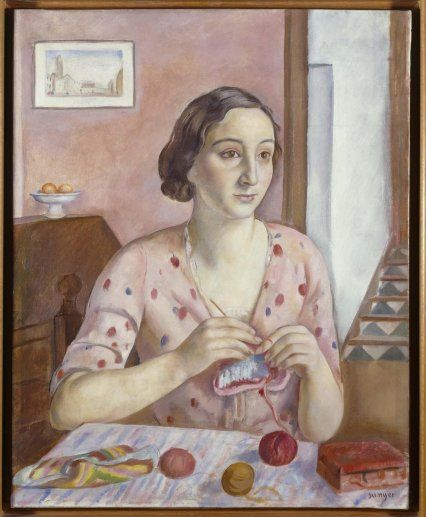 'María Dolores' Joaquin Sunyer. I saw this in Museo Reina Sofia, Madrid. I was so excited to see that someone had painted crochet that I skidded to a halt and attempted to absorb this and burn it into my brain. Stunning.   He did another - Mujer haciendo ganchillo - woman doing crochet