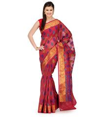 Pink Faux Chanderi Saree | Fabroop USA | $60.99 |