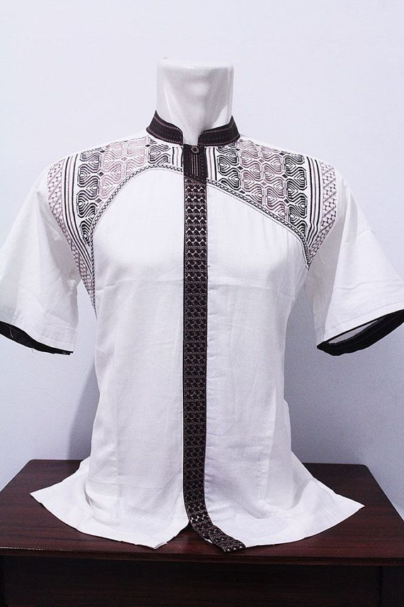 Eid Muslim Embroidery Clothing Short Tunic Traditional Kaftan Salwar Kameez Vintage Style - FOR MEN