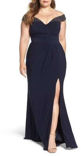Plus Size Women's Xscape Embellished Off The Shoulder Gown