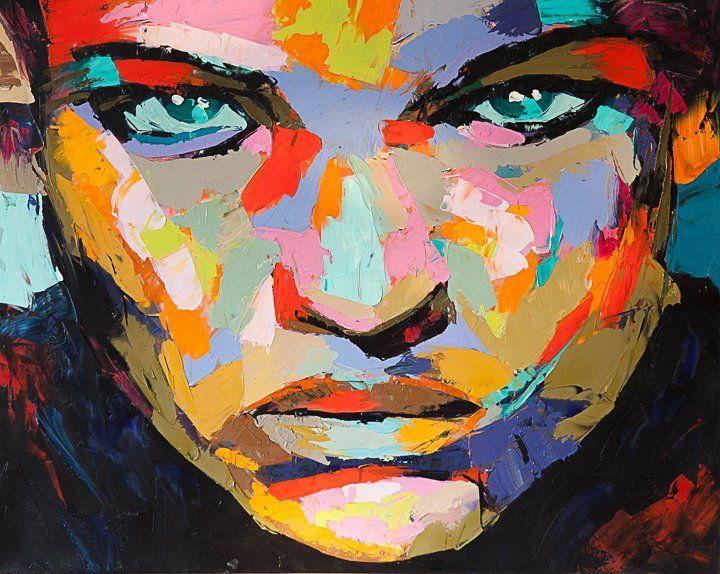 Twarz abstrakcja obraz ręcznie malowany DUŻY POP