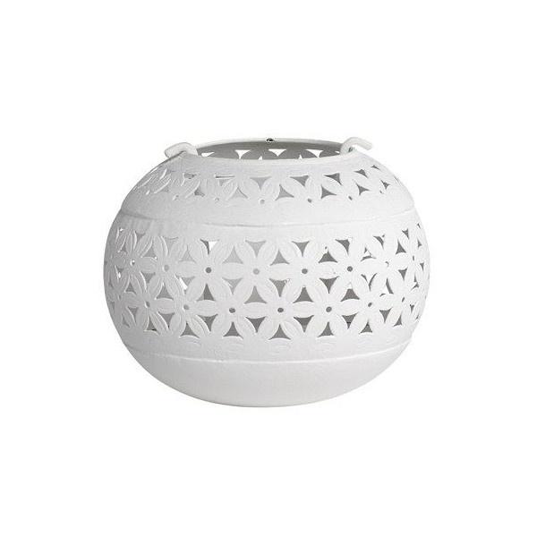 Tea light holder with hole pattern white