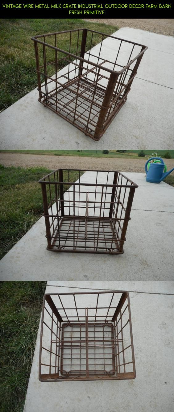 Vintage Wire Metal Milk Crate Industrial Outdoor Decor Farm Barn Fresh Primitive #outdoor #shopping #drone #fpv #technology #gadgets #camera #plans #parts #industrial #products #decor #kit #tech #racing