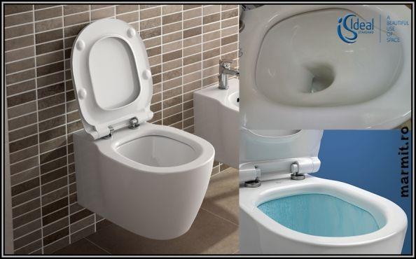 Wc suspendat Connect Aquablade cu capac soft-close, obiecte sanitare, cazi de…