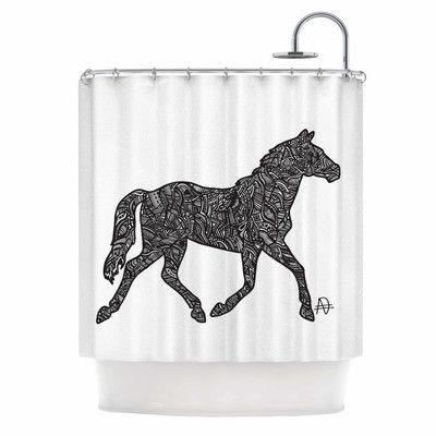 KESS InHouse Horsie by Adriana De Leon Horse Illustration Shower Curtain