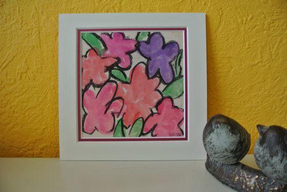 Tekening 'Bloemen' - roze en paars, in bijpassend dubbel passe-partout