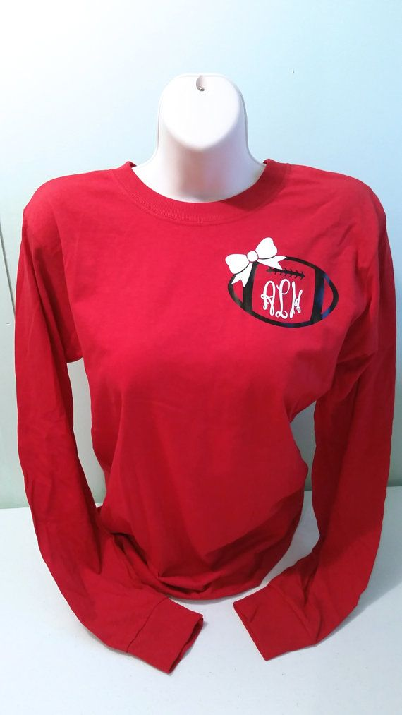 Monogrammed Bow Football Long Sleeve Shirt by ElleQDesigns on Etsy