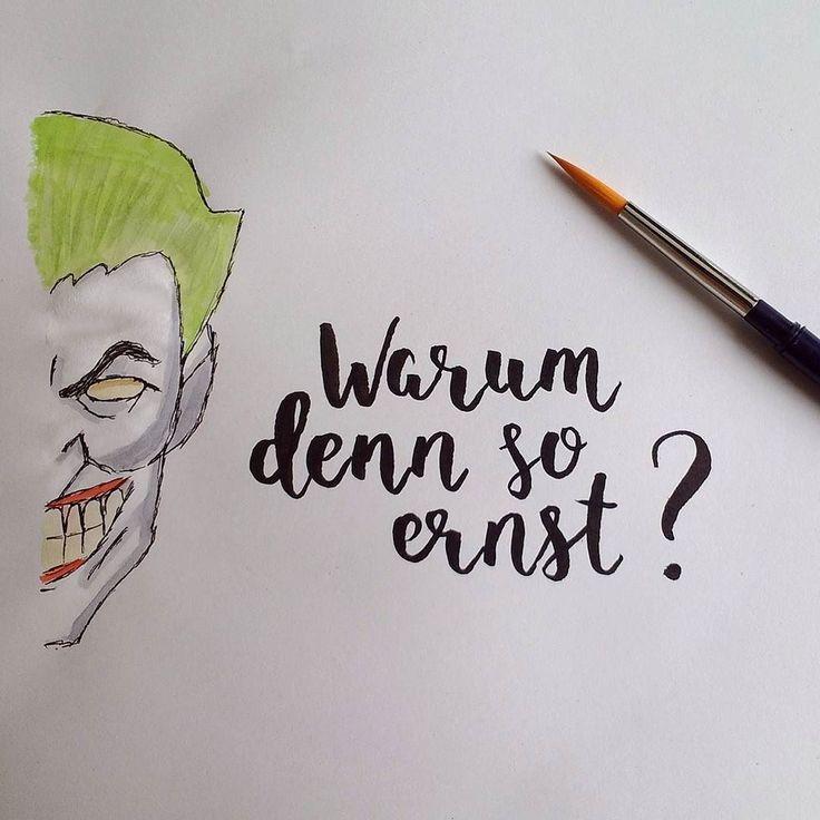 Warum denn so ernst? (#letterattackchallenge von @FrauHoelle)  #lettering #handlettering #brushlettering #brushpen #handwritten #typography #watercolor #doodle #sketchbook #quote #batman #joker