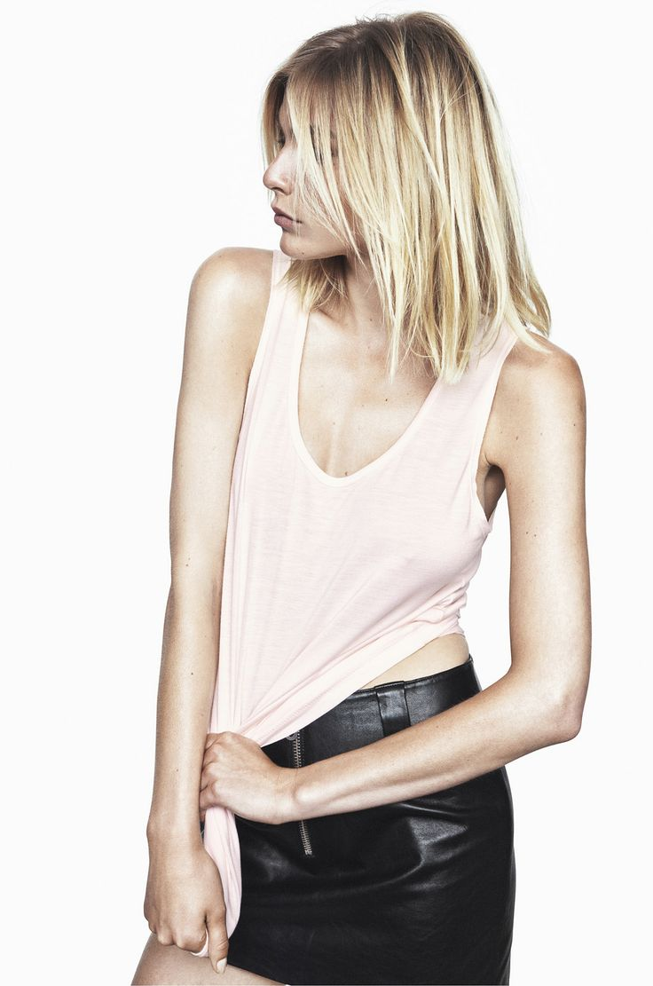 SPELLBOUND TENCEL TOP IN HEVENLY PINK AND LORD KNOWS LAMB LEATHER MINISKIRT IN ANTHRACITE BLACK http://fallwinterspringsummer.com