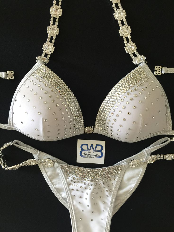 Custom white bikini with molded cup option and edge Crystal pattern! Waterbabiesbikini.com