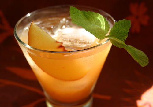 For all you southern peaches here is an idea for a great signature drink, a peach whiskey (to make it signature make up your own cute name to go with you wedding theme)   ~ Ingredients ~  1/2 Peach, Cut into thick slices  3 or 4 fresh mint leaves  1 lemon wedge  1 ounce water  1/2 ounce simple syrup  2 ounces whiskey (Degroff suggests Canadian whiskey, but bourbon also works well)  1 sprig mint  1 thin peach slice for garnish