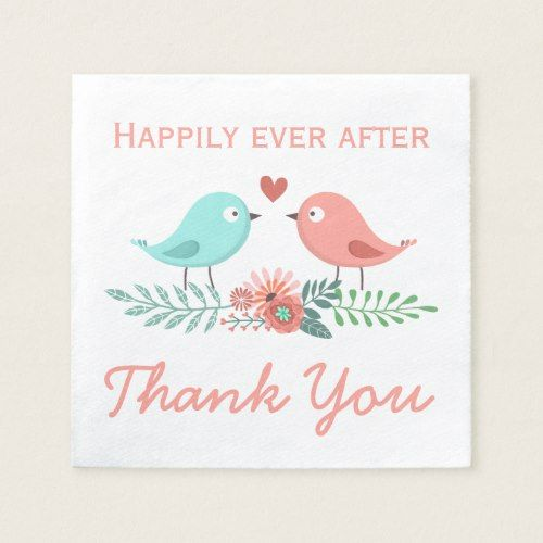 Fl Thank You Lovebirds Blue And Pink Wedding C Paper Napkin