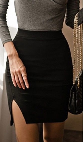 Elegant elastic slim fit skirt Z1312036 Black