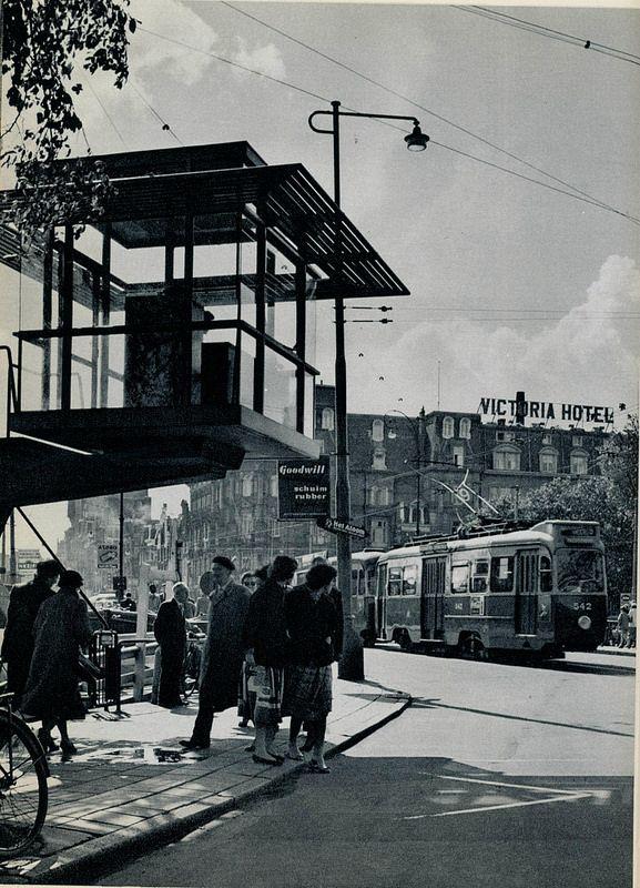 1958. Stationsplein with tram control tower near Central Station in Amsterdam. Photo Ed van Wijk. #amsterdam #1950 #stationsplein