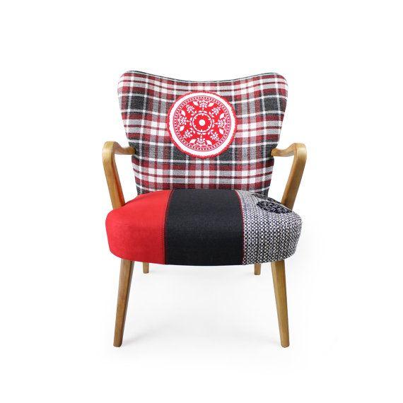 Danish mid-century modern patchwork armchair El by lasilladesign