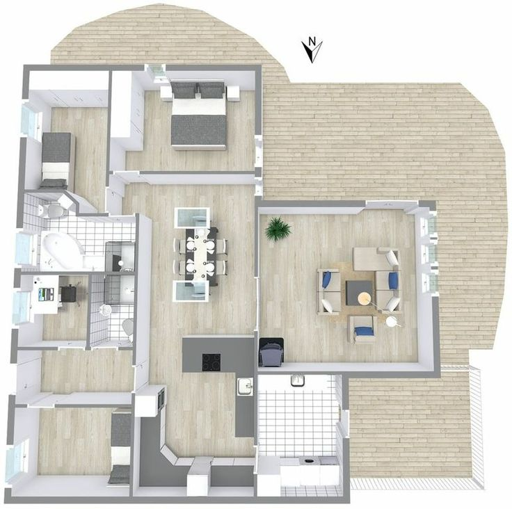 3D floor plan for 3 bedroom home.  Are you a real estate professional? List your next property with a professional 3D floor plan.  http://www.roomsketcher.com/floorplans/   #floorplan #realestate