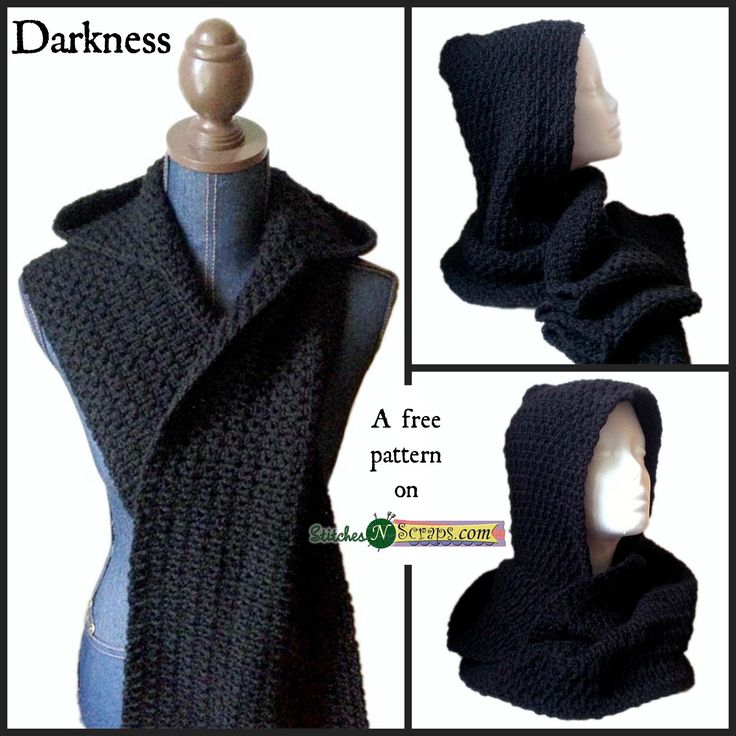 Darkness - free crochet hooded scarf pattern by Pia Thadani at Stitches 'n' Scraps