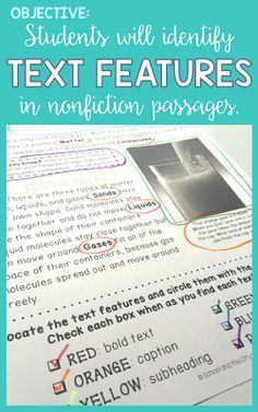 Students will identify nonfiction text features in nonfiction passages. Blog post includes some whole-brain teaching techniques for teaching text features and a link to this resource.