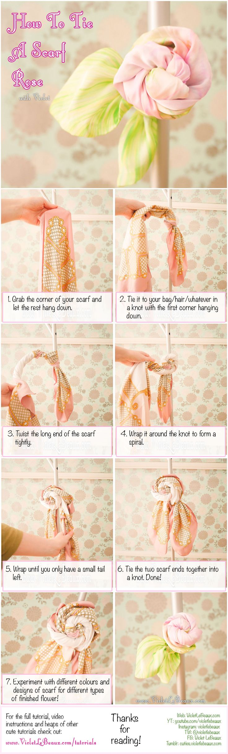 How To Tie A Scarf Into A Rose | Violet LeBeaux- Cute Free Craft Tutorials