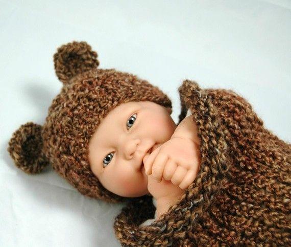 Knitting Pattern Baby Teddy Bear : KNITTING PATTERN Baby Bear Hat