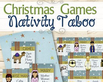 ★ PRINTED VERSION - http://etsy.me/1oQF7S2  Celebrate the holidays with this fun and festive Christmas Taboo game. Purchase includes 32 unique playing cards, along with a decorative page for the back of the cards. Happy Holidays!  ✫ INSTRUCTIONS ✫ Players divide into teams and take turns choosing cards. A person from Team 1 must get their team to say the word at the top of the card without using any of the words listed. If a word is used, then Team 2 gets a chance. The team with the most…