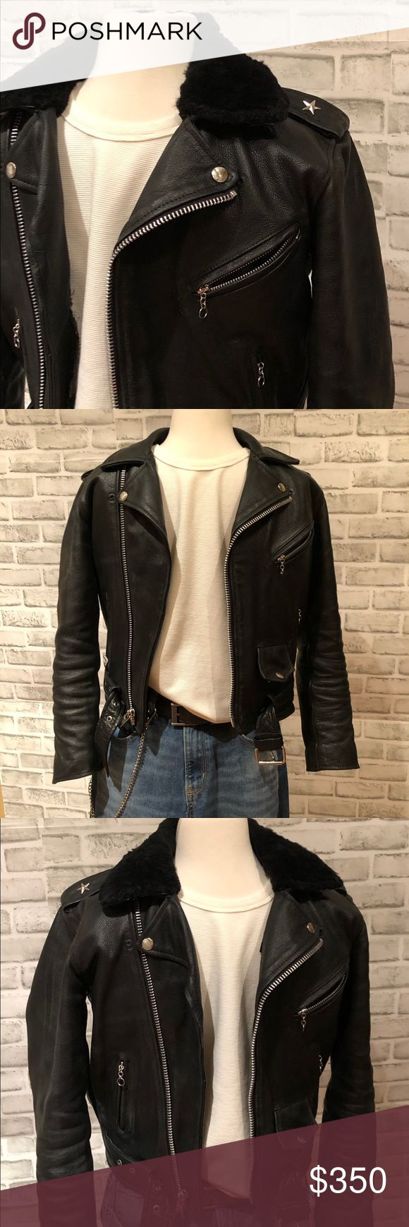 Vintage Leather Motorcycle Jacket Sherpa Collar XS