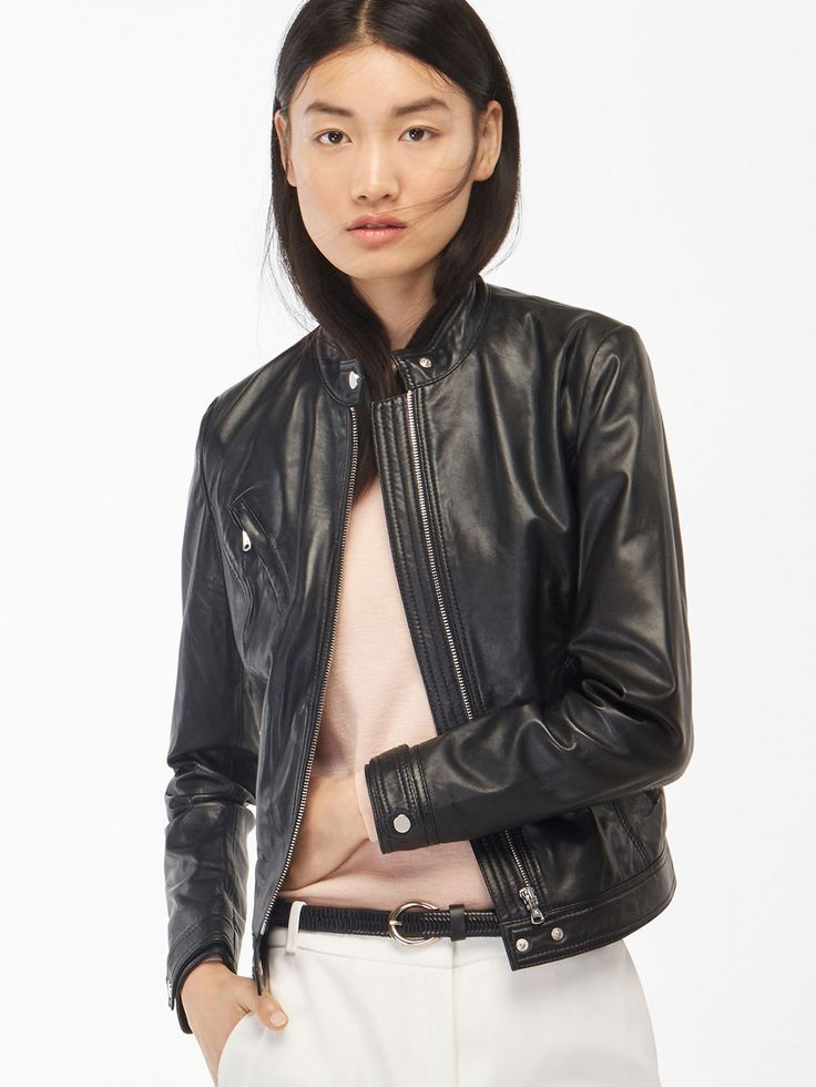 Autumn winter 2016 WOMEN´s BLACK LEATHER JACKET WITH POCKET DETAIL at Massimo Dutti for 345. Effortless elegance!