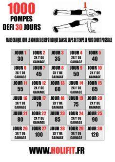 Ce défi de 30 jours vous permet de progresser sur les pompes et d'en réaliser 1000 en 30 jours. Une bonne façon de reprendre le sport et se préparer à un programme de musculation plus intense !