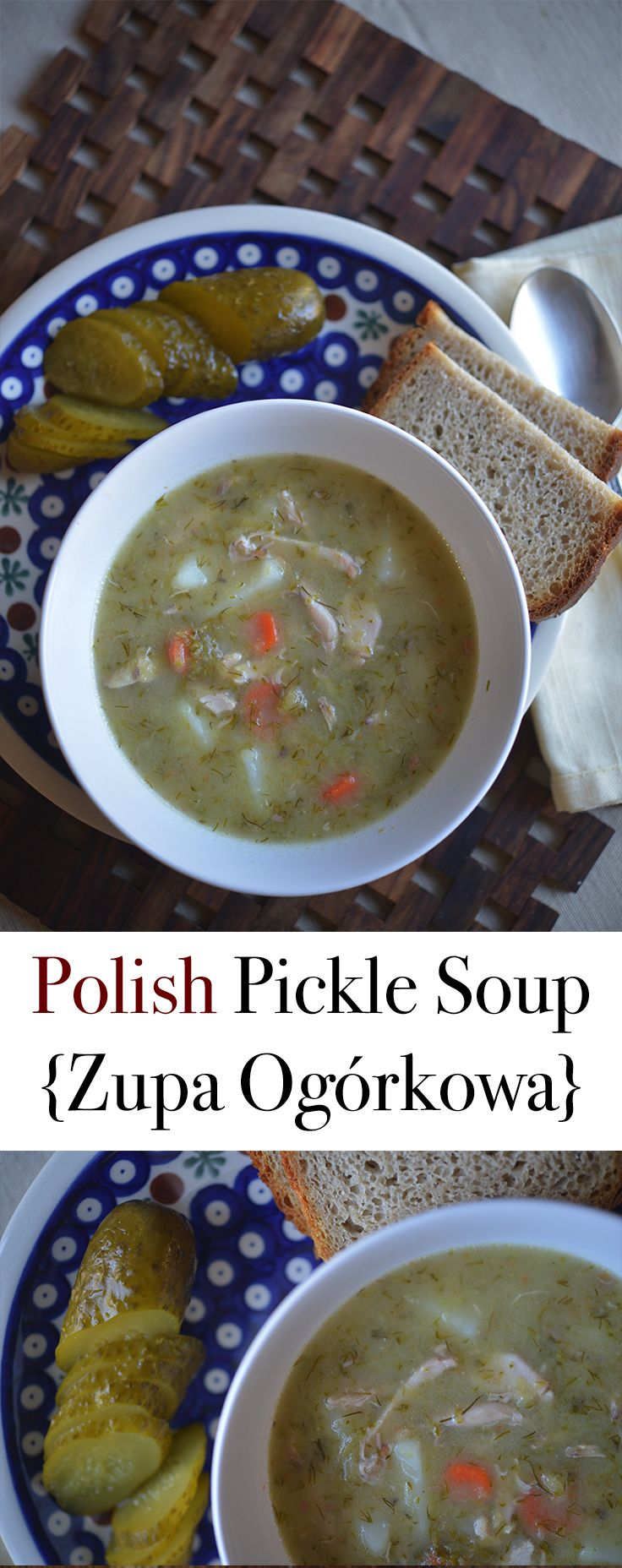 Polish Pickle Soup {Zupa Ogórkowa}, sour Polish soup, traditionally made with pickles in brine, easy to make and easy to follow recipe for this Polish favorite soup by Anna @polishyourkitchen.