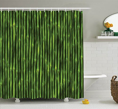 Bamboo Decor Shower Curtain Set by Ambesonne, Bamboo Stems Pattern Tropical Nature Inspired Background Print Asian Wildlife Zen Decor , Bathroom Accessories, 84 Inches Extralong, Green