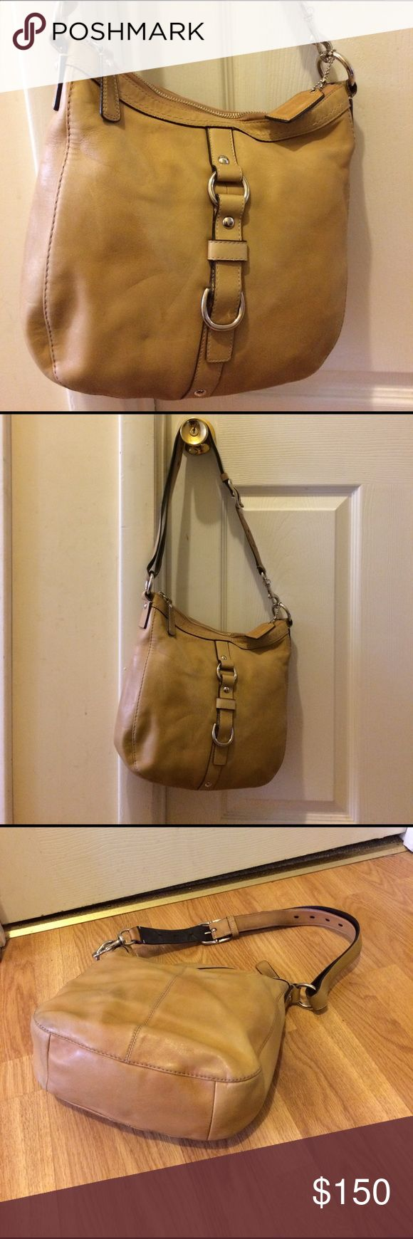 """Coach leather Chelsea handbag 14018 Used condition staining on outside leather scuffs on leather please see pictures for condition measurements approximately 11"""" x 11"""" smoke-free pet free home no returns please ask all questions prior to purchase thank you Coach Bags Shoulder Bags"""