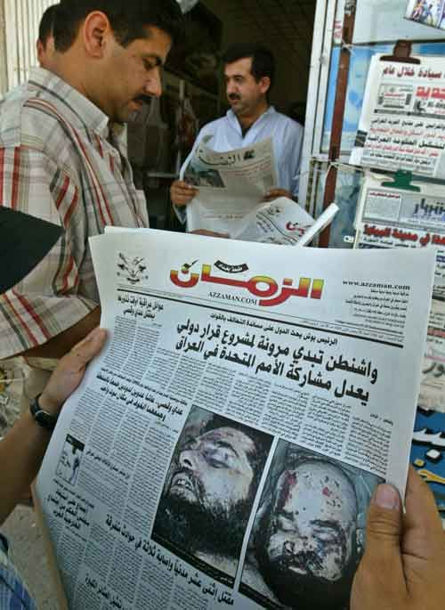 Occupation of Iraq - July 22, 2003 - Uday and Qusay Hussein, Saddam Hussein's sons, are killed in Mosul