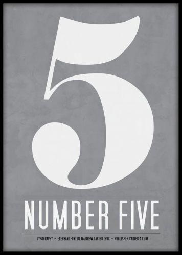 Tavla med siffran fem, snygg grafisk poster.