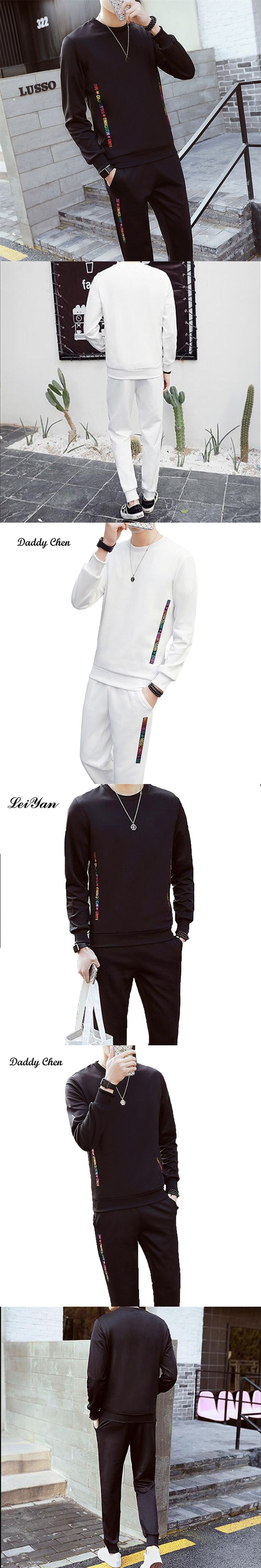 2017 brand sporting suit men winter clothes O Neck solid sweat suits sets track tracksuit color letter sportswear survetement