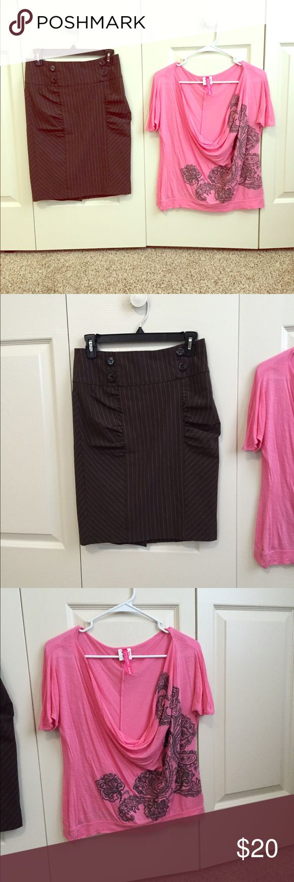 Skirt & shirt combo Brown pencil skirt and matching pink shirt. The shirt has a brown design that matches perfectly with the skirt. Perfect for any summer outing! Outfit was only worn one time! SKIRT SIZE 3, SHIRT MEDIUM Skirts Pencil