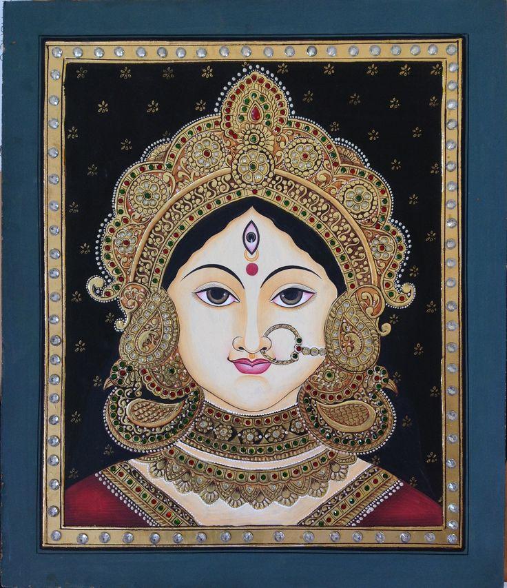 Tanjore Durga Goddess Painting Handmade Indian Thanjavur Wall Decor Gold Art