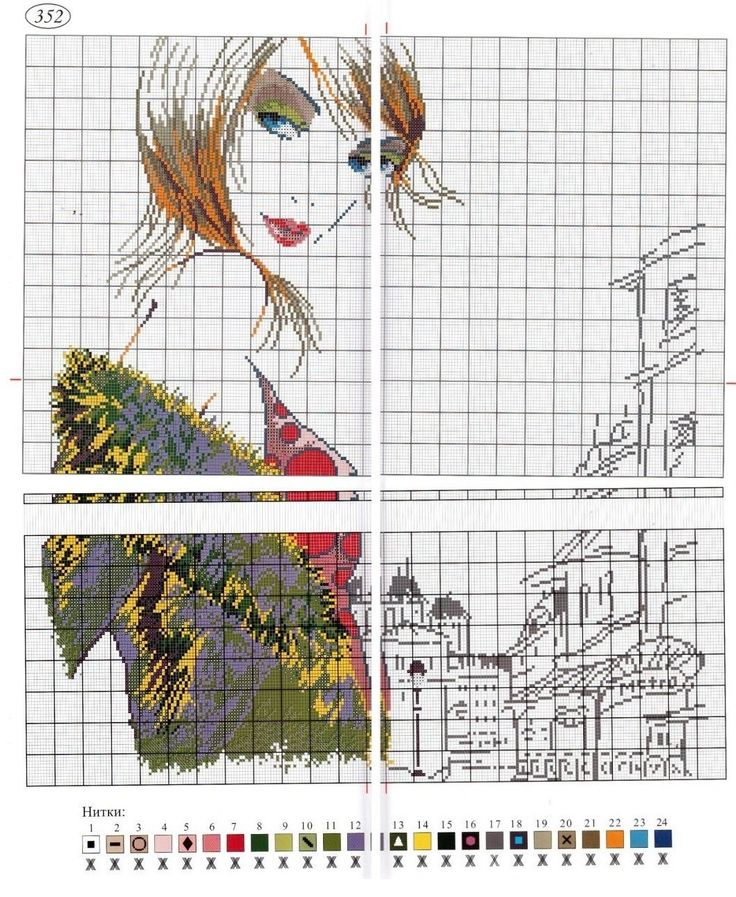 0 point de croix fille à Paris, métro - cross stitch girl in paris, underground 2